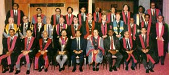 Members of the Council of the Academy of Medicine of Malaysia with invited special guests from foreign colleges at the 19th Malaysia-Singapore Congress of Medicine, 1-4 August 1985.