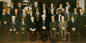 The Academy was represented by Ybhg Dato' Dr. Mahmood Merican (Master) (back row, second from left) and Ybhg Datuk Dr. V. Thurasingham (middle row, sixth from left). Seated in the centre is Professor Tom Gibson (President of the Royal College of Physicians & Surgeons of Glasgow) and on the extreme left is Sir Douglas Black (President of the Royal College of Physicians of London).