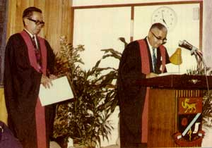 1976 - YAA Tun Mohd. Suffian bin Hashim being admitted to Honorary A.M. by the Master, Ybhg Datuk Dr. G. Sreenevasan
